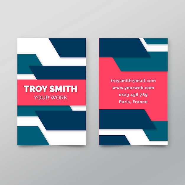 Double-sided business card template with geometric lines Premium Vector