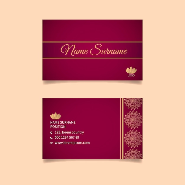 Double-sided business card template Premium Vector