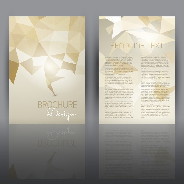 Double sided flyer template with a low poly design vector for Double sided brochure template