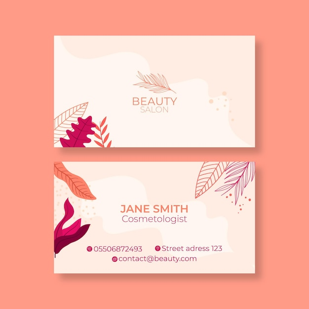 Double-sided horizontal business card template for beauty salon Premium Vector