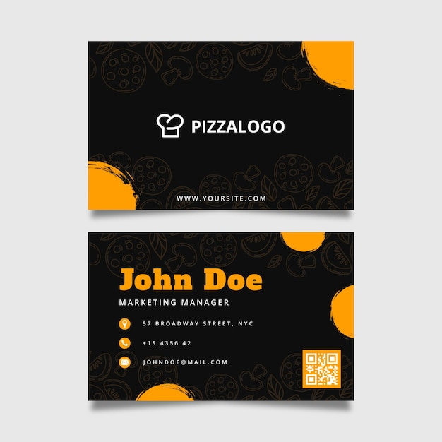 Double-sided horizontal business card template for italian food restaurant Free Vector
