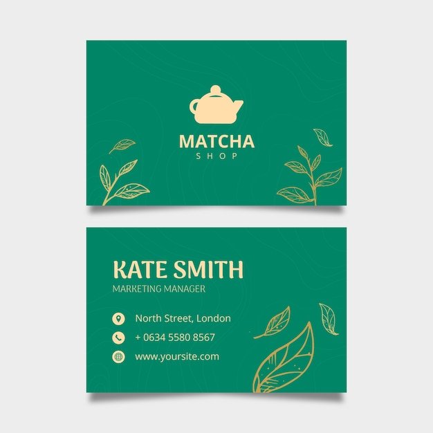 Double-sided horizontal business card template for matcha tea Free Vector