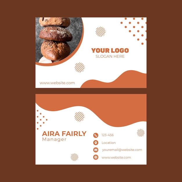 Double-sided horizontal business card template for pastry shop Premium Vector