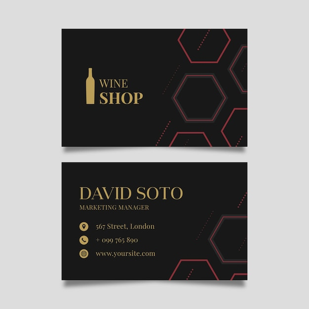 Double-sided horizontal business card template for wine tasting Free Vector