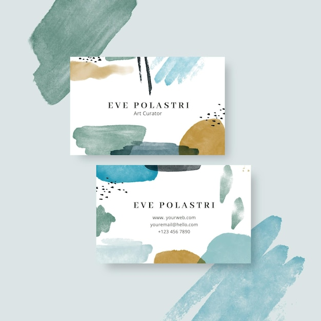 Double-sided horizontal business template in pastel Free Vector