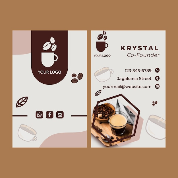 Double-sided vertical business card template for coffee shop Premium Vector
