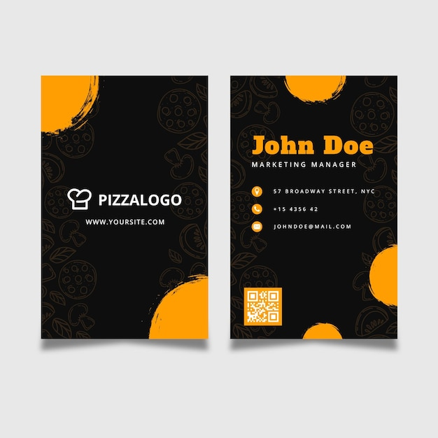Double-sided vertical business card template for italian food restaurant Free Vector