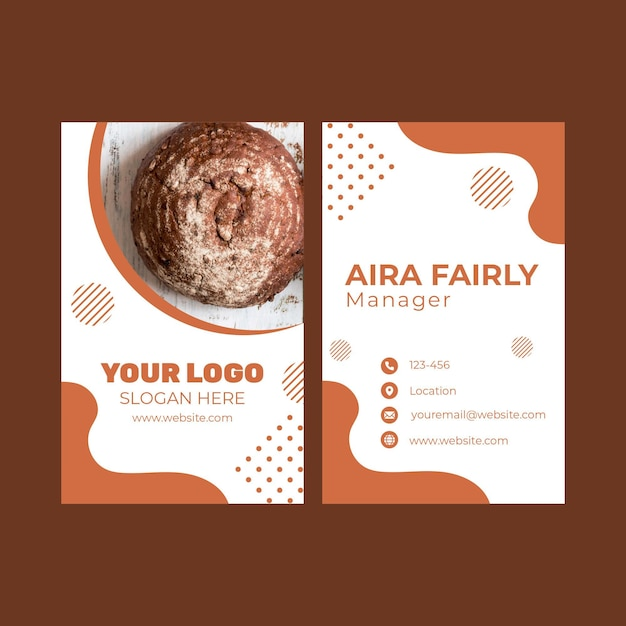 Double-sided vertical business card template for pastry shop Premium Vector