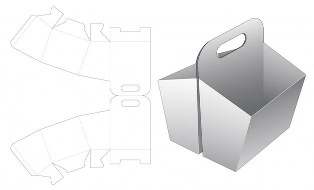 홀더 다이 컷 템플릿이있는 이중 스낵 용기 프리미엄 벡터