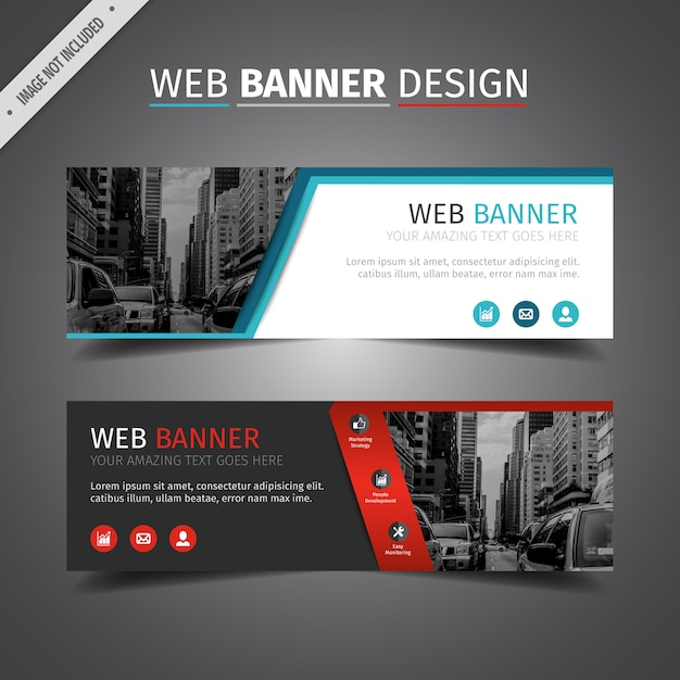 Double Web Banner Design Vector Free Download