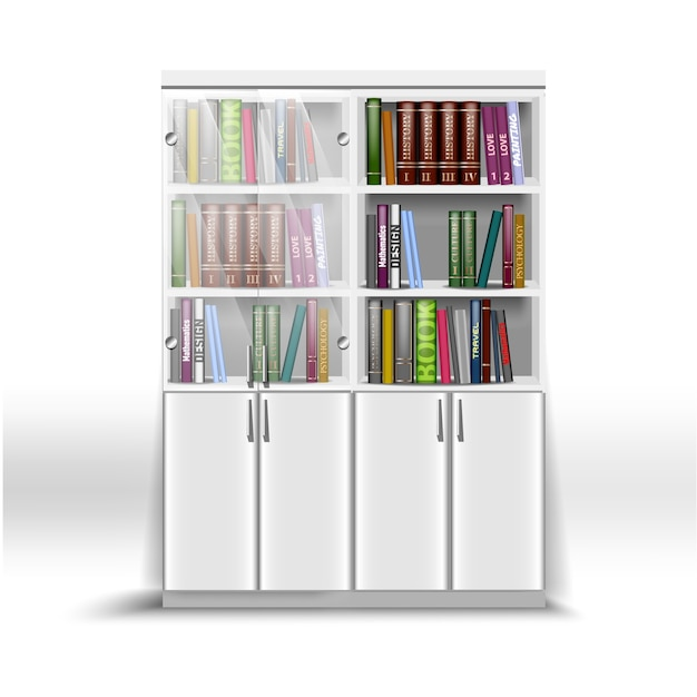 Double white office bookcase, with a set of books on different subjects Premium Vector