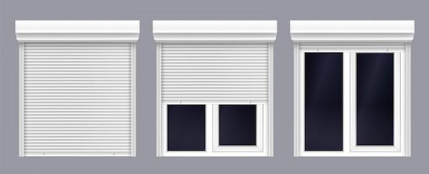 Двойное окно с жалюзи вверх и близко Бесплатные векторы