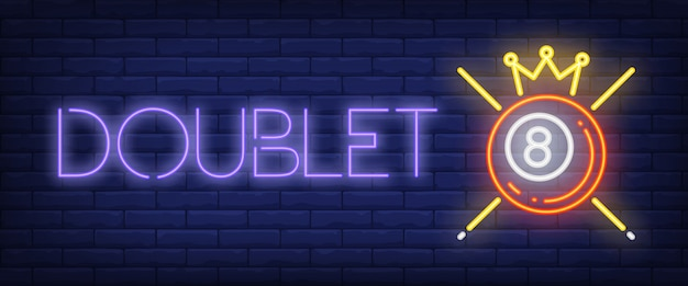 Doublet neon text with ball, crown and cues Free Vector