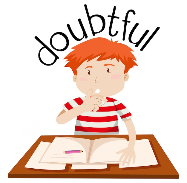 A doubtful boy on white background Free Vector