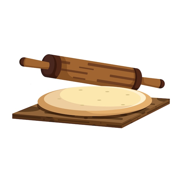 Dough and rolling pin Premium Vector