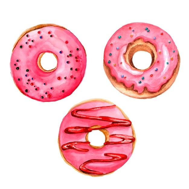 Doughnuts watercolor set Premium Vector