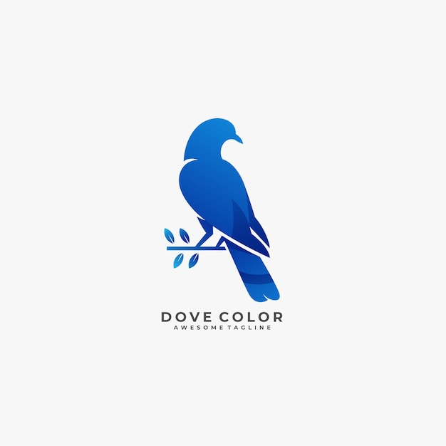 Dove color beautiful pose illustration. Premium Vector