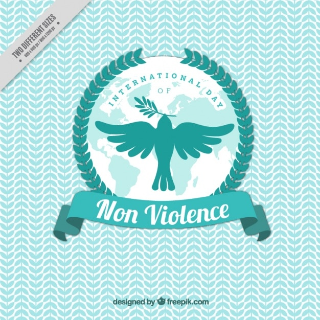 Dove flying to celebrate the day of non violence Free Vector