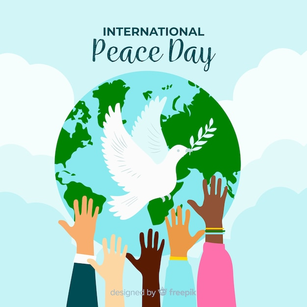 Dove in front of world for peace day Free Vector