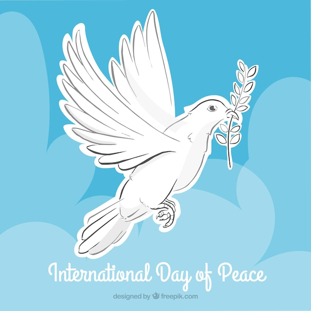 dove holding an olive branch with clouds background free vector