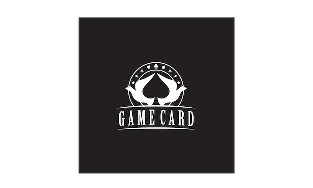 Dove spade poker logo design Premium Vector