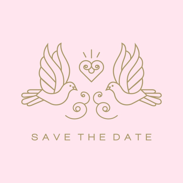 Doves birds gold wedding couple signs Premium Vector