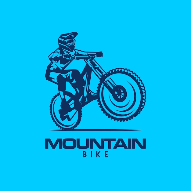 Downhill bicycle logo vector Premium Vector