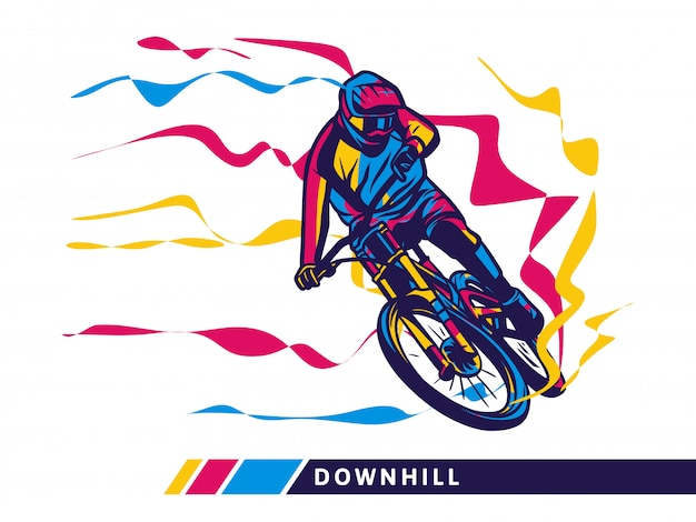 Downhill mountain bike motion illustration Premium Vector