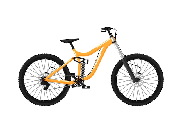 Downhill sport bicycle isolated icon Premium Vector