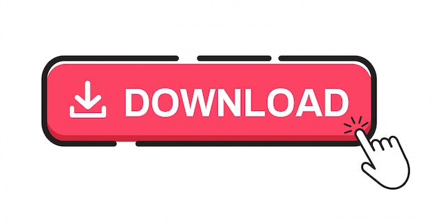 Download button on white background. Premium Vector