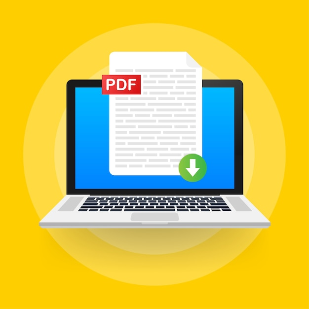 Premium Vector | Download pdf button on laptop screen. downloading document concept. file with pdf label and down arrow sign.