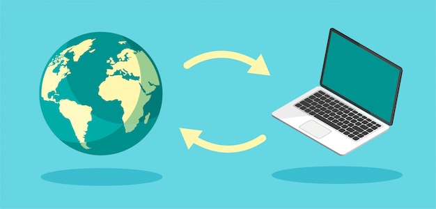 ダウンロードプロセス。インターネットまたはコンピューターへのファイルのアップロード。ファイル転送の概念。 Premiumベクター