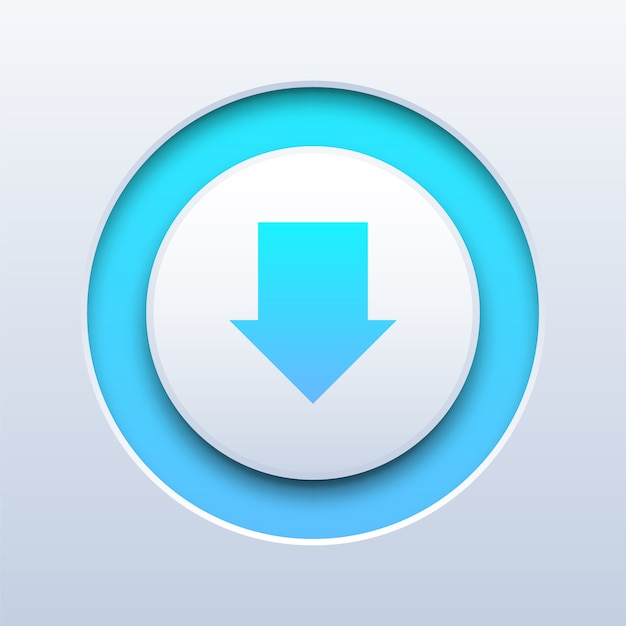 Download push button on white Premium Vector