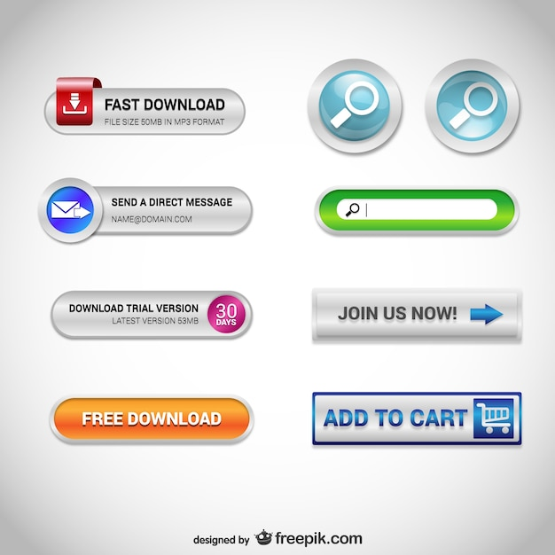 Download web buttons Free Vector