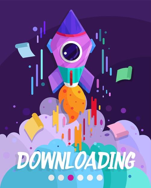 Downloading website page design Premium Vector