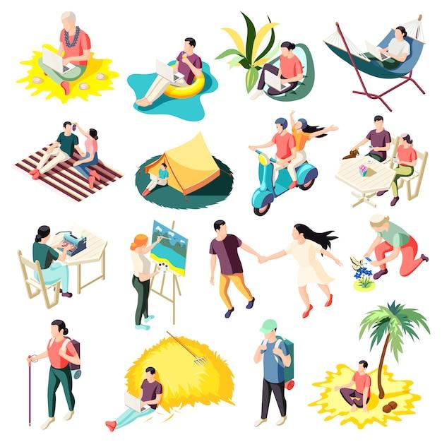 Дауншифтинг избегая работы стресса расслабляющий людей с жизнью, выполняющих карьеру изменения изометрические иконы коллекция изолированных Бесплатные векторы