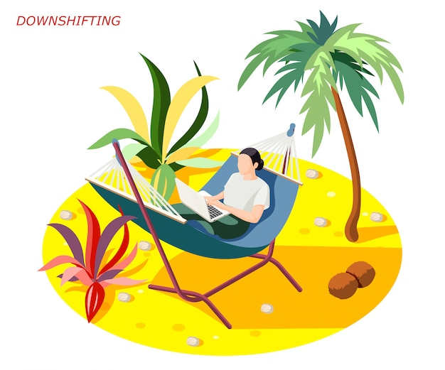 Downshifting stress escaping people isometric composition with woman relaxing while working on beach under palm Free Vector