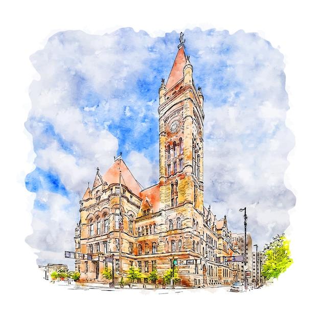 Downtown cincinnati united states watercolor sketch hand drawn illustration Premium Vector