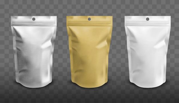 ジッパー付きホイルポーチ、食品用doypack 無料ベクター