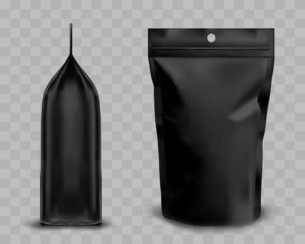 ジッパー付きブラックフォイルポーチ、食品用doypack 無料ベクター