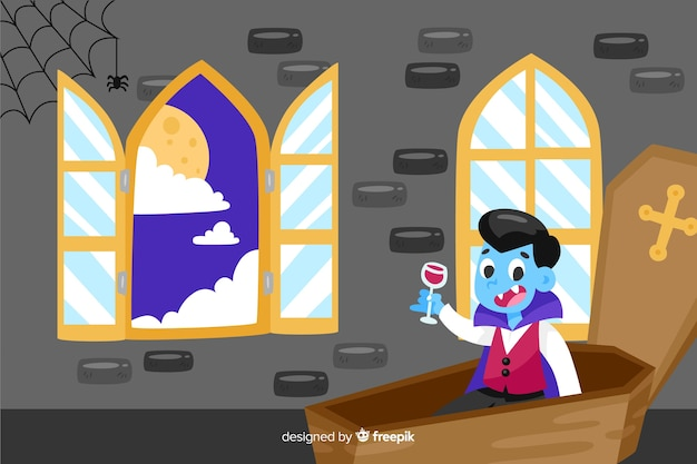 Dracula in a coffin halloween background Free Vector