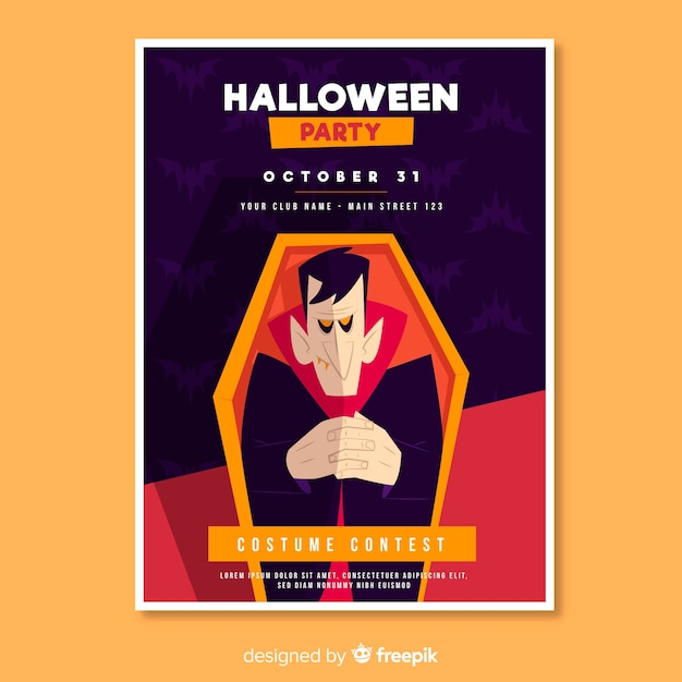 Dracula in a coffin halloween party flyer Free Vector