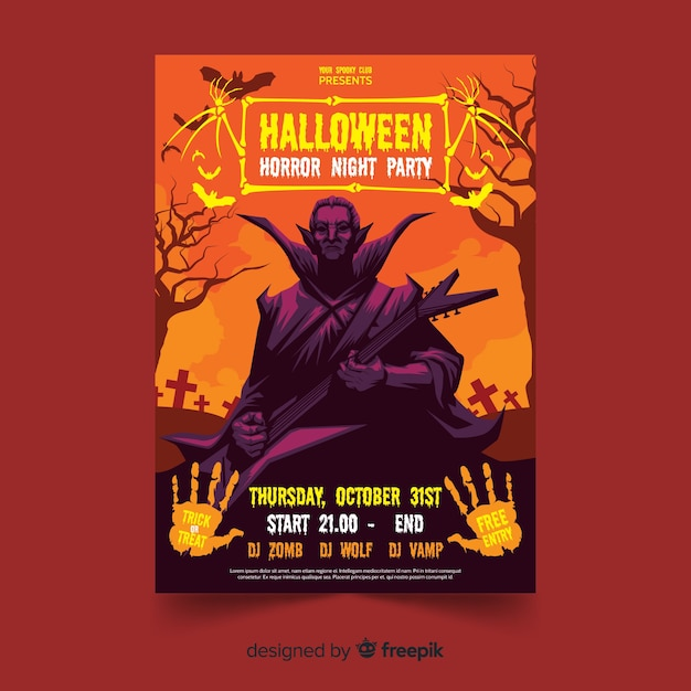 Dracula halloween flyer template with flat design Free Vector