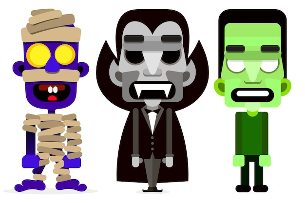 Dracula the mummy and zombie set of monsters. Premium Vector
