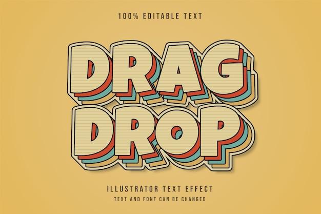 드래그 드롭, 3d 편집 가능한 텍스트 효과 노란색 그라데이션 빨간색 파란색 만화 복고풍 레이어 텍스트 스타일 프리미엄 벡터