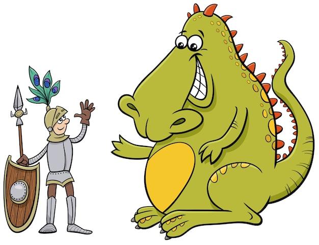 Дракон и рыцарь дружески разговаривают иллюстрации шаржа Premium векторы