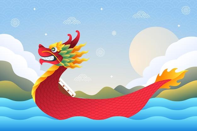 Лодка дракона фон плоский дизайн Бесплатные векторы