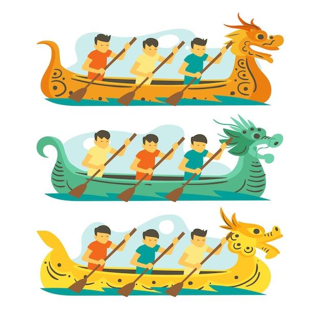 Концепция коллекции лодок-драконов Бесплатные векторы