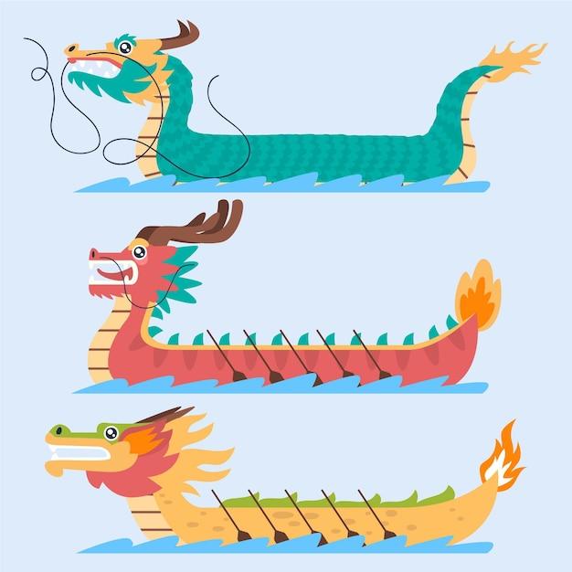 Дизайн коллекции лодок-драконов Бесплатные векторы