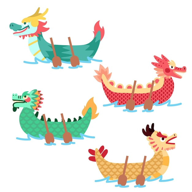 Тема коллекции лодок-драконов Бесплатные векторы